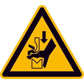 Warnschild auf Bogen Warnung vor Quetschgefahr der Hand zwischen den Werkzeugen einer Presse