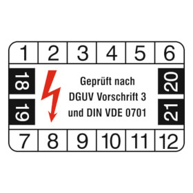Prüfplakette Geprüft nach DGUV Vorschrift 3 und DIN VDE 0701