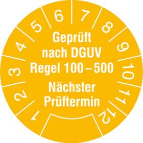 Prüfplakette Geprüft nach DGUV Regel 100-500, Nächster Prüftermin