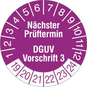 Prüfplakette Nächster Prüftermin DGUV Vorschrift 3