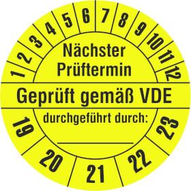 Prüfplakette Nächster Prüftermin - Geprüft gemäß VDE - durchgeführt durch