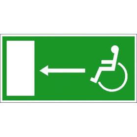Rettungsschild - nachleuchtend Rettungsweg für Behinderte links