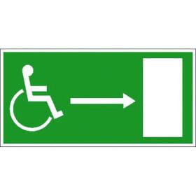 Rettungsschild - nachleuchtend Rettungsweg für Behinderte rechts