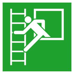 Fluchtwegschild - langnachleuchtend Notausstieg mit Fluchtleiter links