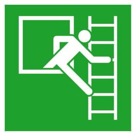Fluchtwegschild - langnachleuchtend Notausstieg mit Fluchtleiter rechts