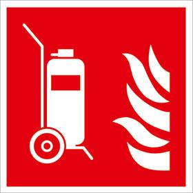 Brandschutzschild - langnachleuchtend Fahrbarer Feuerlöscher