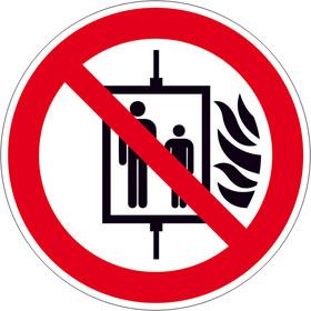 Verbotsschild Aufzug im Brandfall nicht benutzen