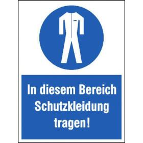 Gebots-Kombischild In diesem Bereich Schutzkleidung tragen!