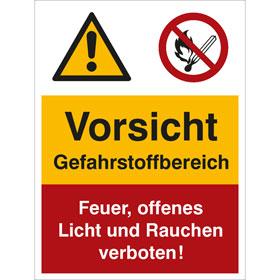 Warn- Verbots- Kombischild Vorsicht Gefahrstoffbereich