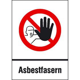 Gefahrstoffkennzeichnung, Verbots-Kombischild Zutritt für Unbefugte verboten Asbestfasern