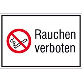 Verbots-Kombischild im Querformat Rauchen verboten