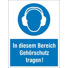 Gebots-Kombischild In diesem Bereich Gehörschutz tragen!