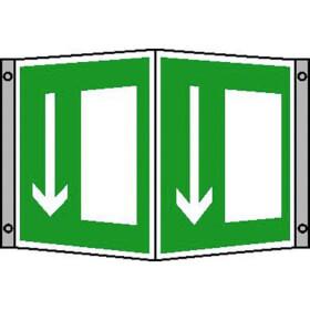 Rettungsschild - nachleuchtend Winkelschild, Symbol: Notausgang, Material: Alu
