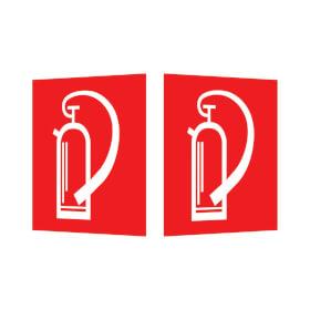 Brandschutzschild - nachleuchtend als Winkelschild, Symbol: Feuerl�scher