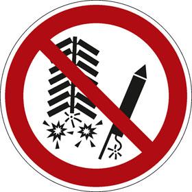 Verbotsschild Feuerwerkskörper zünden verboten