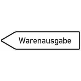 Innerbetrieblicher Wegweiser links Warenausgabe