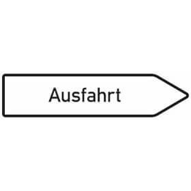 Verkehrsschild - Betriebskennzeichnung Wegweiser nach rechts weisend, Text: Ausfahrt