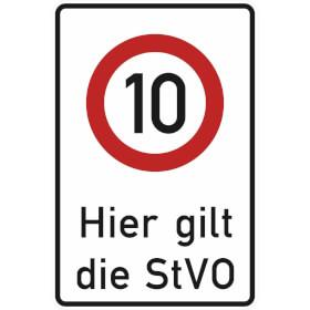 Verkehrsschild - Betriebskennzeichnung Zeichen: Zulässige Höchstgeschwindigkeit 10 km/h