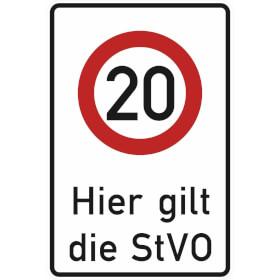 Verkehrsschild - Betriebskennzeichnung Zeichen: Zulässige Höchstgeschwindigkeit 20 km/h