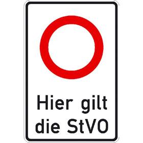 Verkehrsschild - Betriebskennzeichnung StVO-Zeichen: Zulässige Höchstgeschwindigkeit ? Text: Hier gilt die StVO