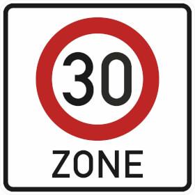 Verkehrszeichen - StVO Beginn der Zone mit zulässiger Höchstgeschwindigkeit 30 km/h