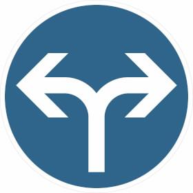 Verkehrsschild Vorgeschriebene Fahrtrichtung links und rechts VZ: 214-30