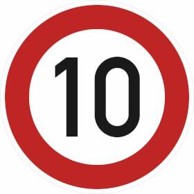 Verkehrsschild nach StVO / Typ 1, Nr. 274-10 Zulässige Höchstgeschwindigkeit 10 km/h