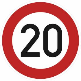Verkehrsschild nach StVO / Typ 1, Nr. 274-20 Zulässige Höchstgeschwindigkeit 20 km/h