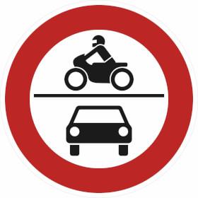Verkehrszeichen - StVO Verbot für Krafträder, auch mit Beiwagen, Kleinkrafträder...