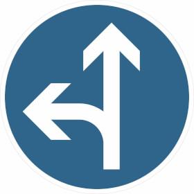 Verkehrszeichen - StVO Vorgeschriebene Fahrtrichtung geradeaus und links