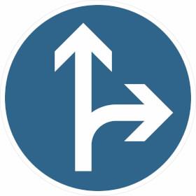 Verkehrszeichen - StVO Vorgeschriebene Fahrtrichtung geradeaus und rechts