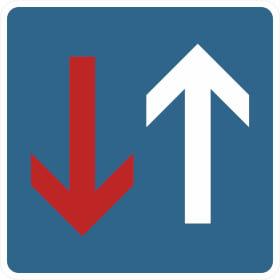 Verkehrsschild nach StVO - Nr. 308 Vorrang vor dem Gegenverkehr
