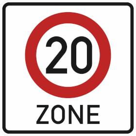 Verkehrszeichen - StVO Beginn der Zone mit zulässiger Höchstgeschwindigkeit 20 km/h