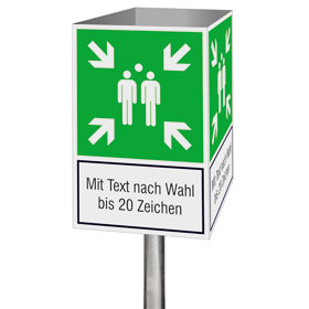Fluchtwegschild-Würfel Symbol: Sammelstelle und Text nach Wahl