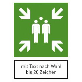 Fluchtwegschild Sammelstelle und max. 20 Zeichen Text nach Wahl