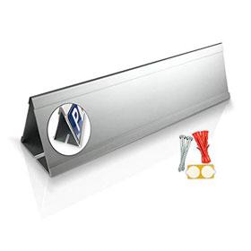 Parkplatzbegrenzung Anfahrschutz Dreieck für Parkplatzschilder 52,0 x 11,0 cm - Aluminium mit Einschubnut