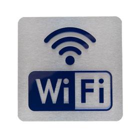 WiFi Schild Aluminium Edelstahloptik mit dunkelblauem Piktogramm aus Acrylglas