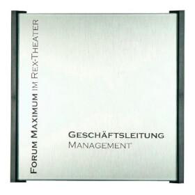 BOX Türschilder, anthrazit Aluminiumrückplatte in Edelstahloptik, ABS-Kunststoffrahmen,
