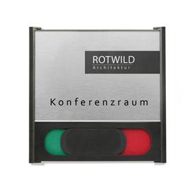 BOX Türschilder inkl. Frei / Besetzt-Anzeige Aluminiumrückplatte in Edelstahloptik, ABS-Kunststoffrahmen,