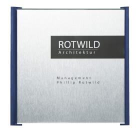 BOX Türschilder, blau Aluminiumrückplatte in Edelstahloptik, ABS-Kunststoffrahmen,