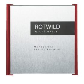 BOX Türschilder, rot Aluminiumrückplatte in Edelstahloptik, ABS-Kunststoffrahmen,
