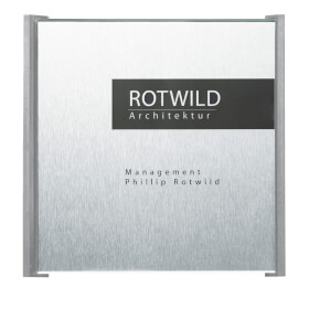 BOX Türschilder, grau Aluminiumrückplatte in Edelstahloptik, ABS-Kunststoffrahmen,