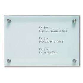 CRISTALLO Firmenschild aus 1 x 8 mm Einscheiben-Sicherheitsglas,