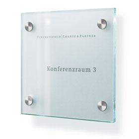 CRISTALLO Türschild aus 2 x 4 mm Einscheiben-Sicherheitsglas,
