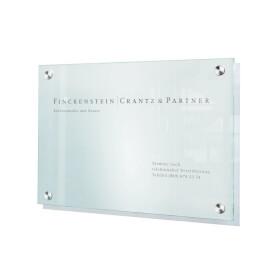 CRISTALLO Wandschild A3 aus 1 x 8 mm Einscheiben-Sicherheitsglas,