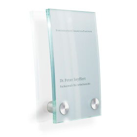 CRISTALLO Türschild aus 2 x 4 mm Einscheiben-Sicherheitsglas - gewölbt,