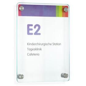 CRISTALLO Safe Wandschild aus ESG mit hochwertigen Edelstahlhaltern,