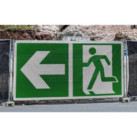 Fluchtwegschild Bauzaunbanner, Notausgang links mit Zusatzzeichen