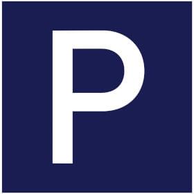 Parkplatzschild Pacific gewölbt, blau /weiß
