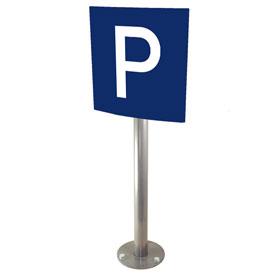 Parkplatzschild Messenger plan, blau /weiß